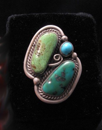 Navajo Turquoise & Gaspeite Ring sz7 to 8-1/2 adjustable, Martha Willeto