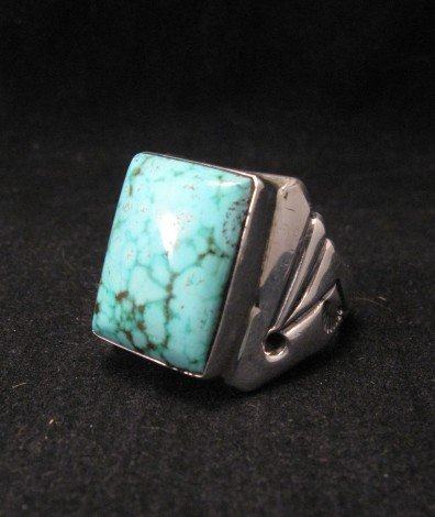 Image 3 of Navajo Orville Tsinnie Turquoise Silver Ring sz12