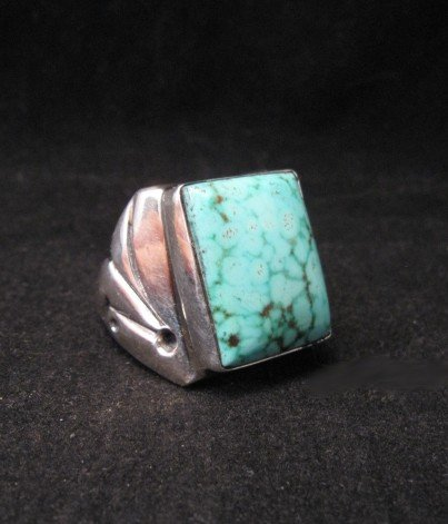 Image 2 of Navajo Orville Tsinnie Turquoise Silver Ring sz12