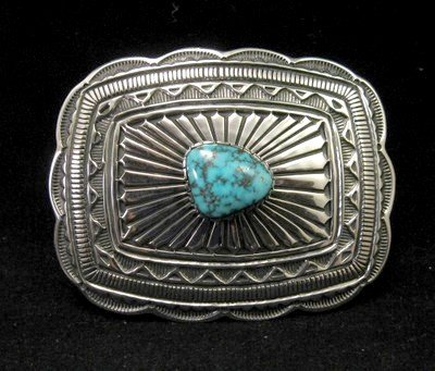 Image 0 of Tsosie Orville White (Navajo) Turquoise Sterling Silver Belt Buckle