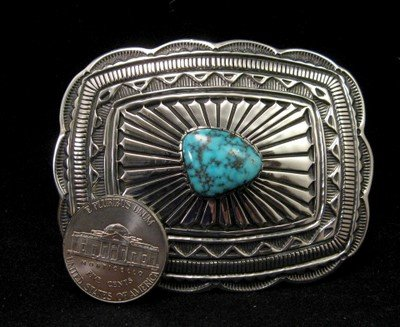 Image 1 of Tsosie Orville White (Navajo) Turquoise Sterling Silver Belt Buckle