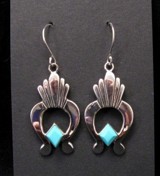 Image 0 of Navajo Turquoise Silver Naja Earrings, Ronnie Henry