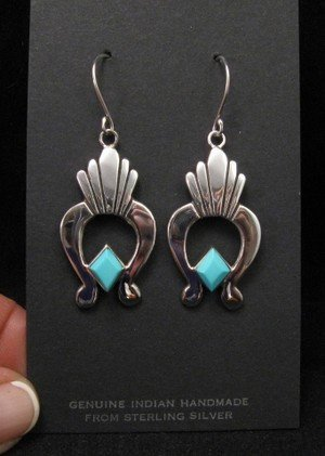Image 1 of Navajo Turquoise Silver Naja Earrings, Ronnie Henry