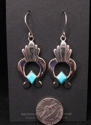 Image 2 of Navajo Turquoise Silver Naja Earrings, Ronnie Henry