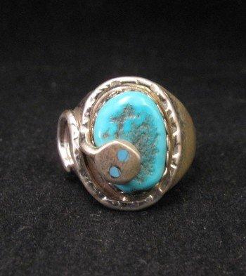 Effie C Calavaza Zuni Turquoise Silver Snake Ring sz10-1/2