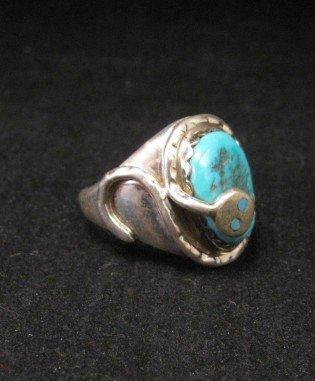 Image 1 of Effie C Calavaza Zuni Turquoise Silver Snake Ring sz10-1/2