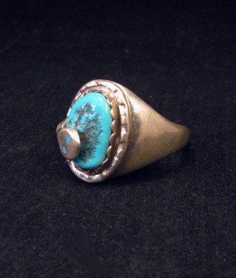 Image 2 of Effie C Calavaza Zuni Turquoise Silver Snake Ring sz10-1/2