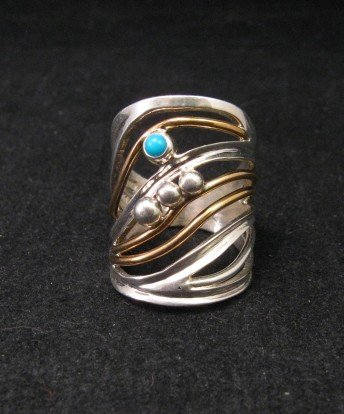 Native American Mixed Metal S/S 12KGF Ring sz6