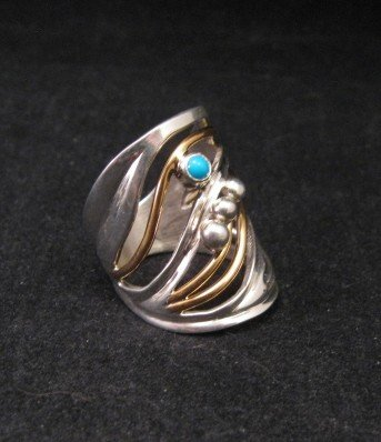 Image 1 of Native American Mixed Metal S/S 12KGF Ring sz6