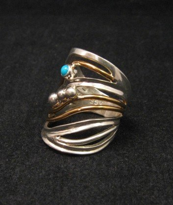 Image 2 of Native American Mixed Metal S/S 12KGF Ring sz6