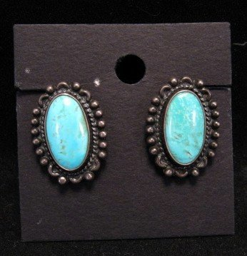 Vintage Native American Turquoise Earrings, Screw-backs