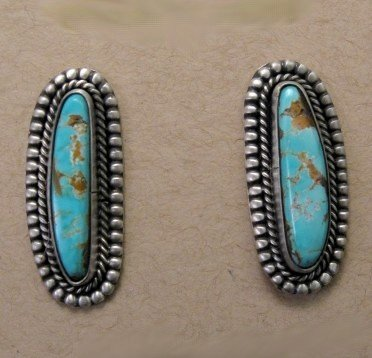 Image 0 of Blue Gem Turquoise Silver Earrings, Martha Willeto, Navajo
