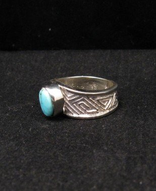 Image 2 of Navajo Ronnie Henry Dry Creek Turquoise Ring, sz6