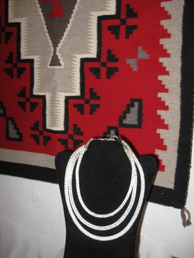 Image 0 of Navajo Woven 18 guage Sterling Silver Rope Necklace 2 lengths, Travis Teller