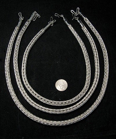 Image 1 of Navajo Woven 18 guage Sterling Silver Rope Necklace 2 lengths, Travis Teller