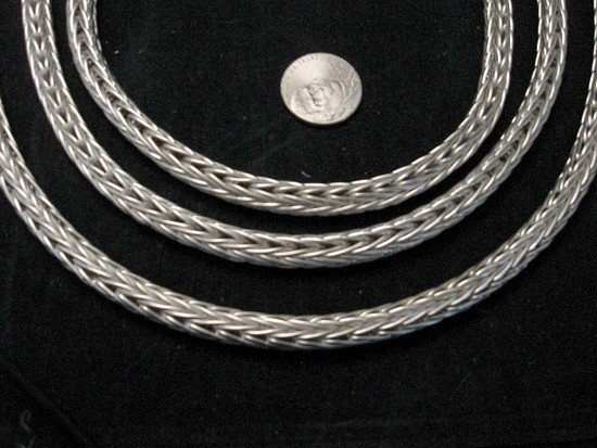 Image 2 of Navajo Woven 18 guage Sterling Silver Rope Necklace 2 lengths, Travis Teller