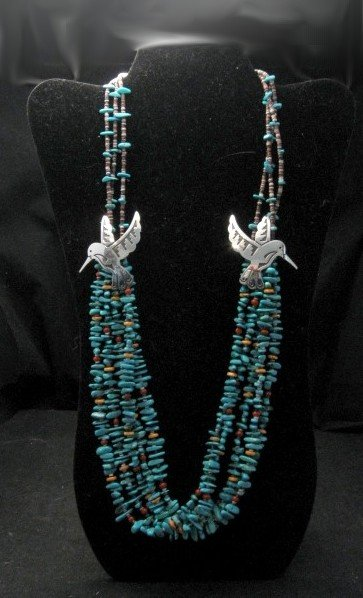 Image 0 of Everett Mary Teller 5 Strand Turquoise & Silver Overlay Hummingbird Necklace