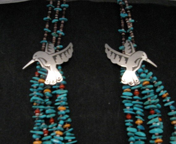Image 1 of Everett Mary Teller 5 Strand Turquoise & Silver Overlay Hummingbird Necklace