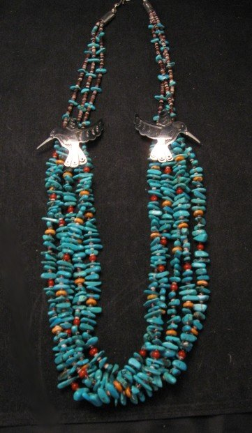 Image 2 of Everett Mary Teller 5 Strand Turquoise & Silver Overlay Hummingbird Necklace