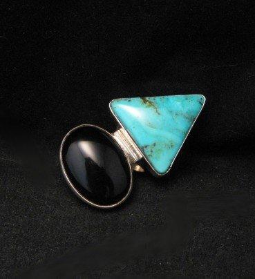 Fabulous Navajo Everett & Mary Teller Turquoise & Onyx Ring sz7-1/2