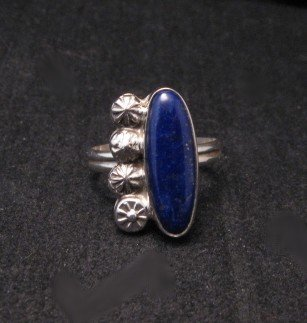 Image 0 of Navajo Sterling Silver Lapis Ring, Mary & Everett Teller, sz8-1/2