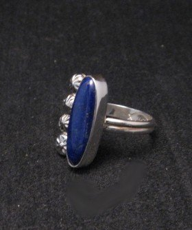 Image 1 of Navajo Sterling Silver Lapis Ring, Mary & Everett Teller, sz8-1/2