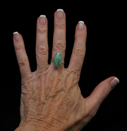 Image 2 of Everett & Mary Teller Navajo Royston Turquoise Ring sz8