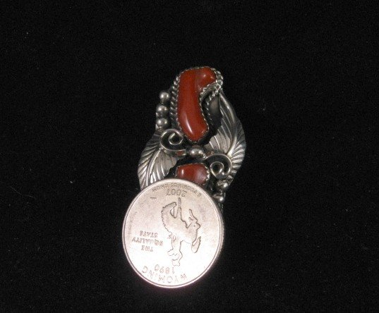 Image 1 of Double Coral Native American Navajo Silver Ring Sz7-1/2