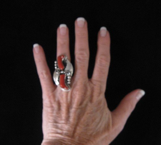 Image 2 of Double Coral Native American Navajo Silver Ring Sz7-1/2