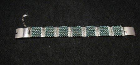 Image 0 of Zuni 6-Row 210 Turquoise Snake Eye Sterling Silver Link Bracelet, Steven Haloo