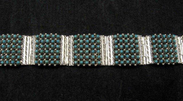Image 1 of Zuni 6-Row 210 Turquoise Snake Eye Sterling Silver Link Bracelet, Steven Haloo