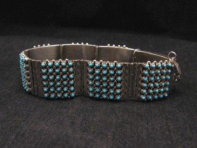Image 2 of Zuni 6-Row 210 Turquoise Snake Eye Sterling Silver Link Bracelet, Steven Haloo