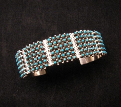 Image 0 of Zuni 6-Row 150 Turquoise Snake Eye Sterling Silver Cuff Bracelet, Steven Haloo