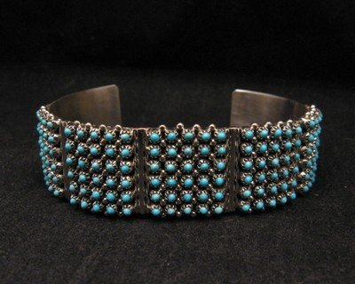 Image 1 of Zuni 6-Row 150 Turquoise Snake Eye Sterling Silver Cuff Bracelet, Steven Haloo