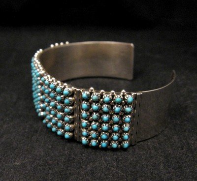 Image 2 of Zuni 6-Row 150 Turquoise Snake Eye Sterling Silver Cuff Bracelet, Steven Haloo