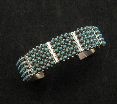 Image 0 of Zuni 5-Row 125 Turquoise Snake Eye Sterling Silver Cuff Bracelet, Steven Haloo