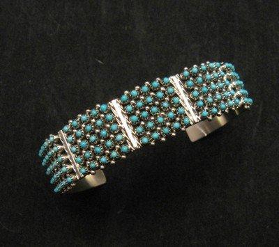Zuni 5-Row 125 Turquoise Snake Eye Sterling Silver Cuff Bracelet, Steven Haloo
