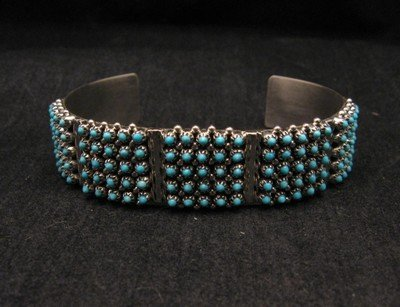 Image 1 of Zuni 5-Row 125 Turquoise Snake Eye Sterling Silver Cuff Bracelet, Steven Haloo