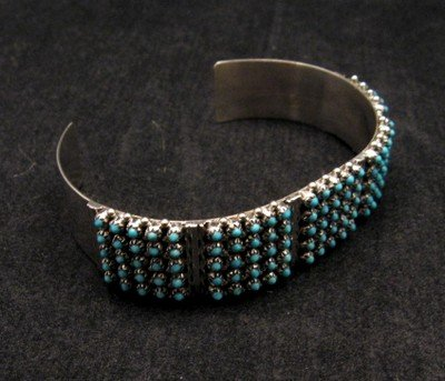 Image 2 of Zuni 5-Row 125 Turquoise Snake Eye Sterling Silver Cuff Bracelet, Steven Haloo
