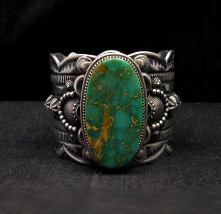 Image 0 of 2-inch Wide Delbert Gordon Navajo Royston Turquoise Silver Bracelet