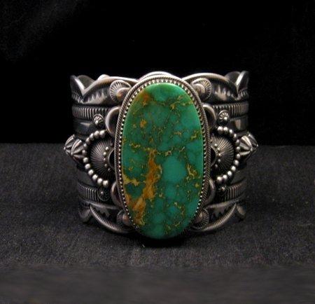 2-inch Wide Delbert Gordon Navajo Royston Turquoise Silver Bracelet