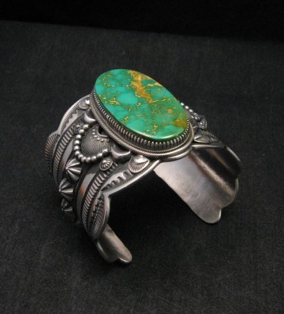 Image 1 of 2-inch Wide Delbert Gordon Navajo Royston Turquoise Silver Bracelet