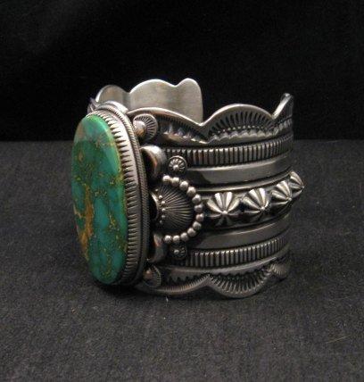 Image 2 of 2-inch Wide Delbert Gordon Navajo Royston Turquoise Silver Bracelet