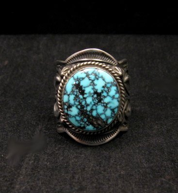 Image 0 of Native American Happy Piasso Turquoise Silver Ring sz10