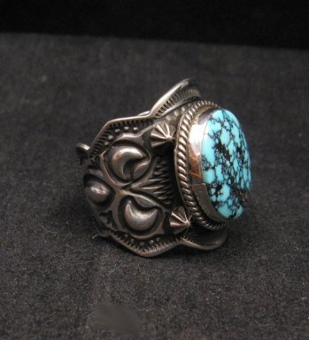 Image 1 of Native American Happy Piasso Turquoise Silver Ring sz10