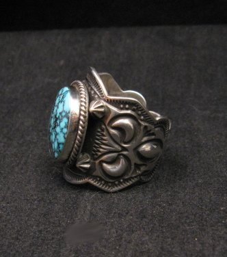 Image 2 of Native American Happy Piasso Turquoise Silver Ring sz10