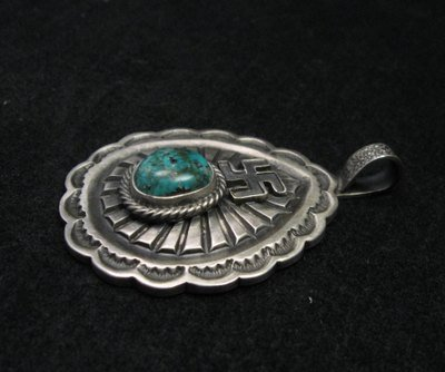 Image 1 of Navajo Morenci Turquoise Whirling Logs Silver Pendant, Gary Reeves