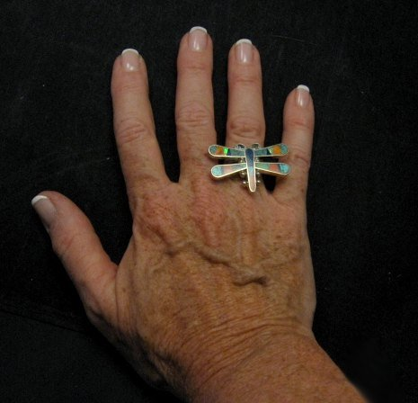 Image 2 of ** Navajo ** Dragonfly Multi-gem Inlaid Ring, Melvin Francis, adjustable