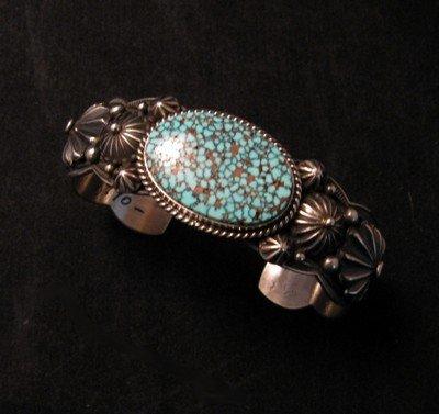 Image 0 of Native American Navajo Turquoise Silver Bracelet ~ Albert Jake