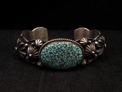 Image 1 of Native American Navajo Turquoise Silver Bracelet ~ Albert Jake